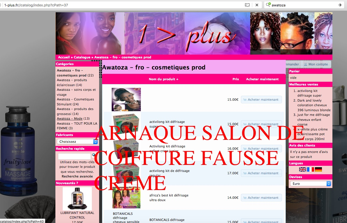 POMMADE AWATOZA FAUSSE SITE www.1-PLUS.fr ARNAQUE