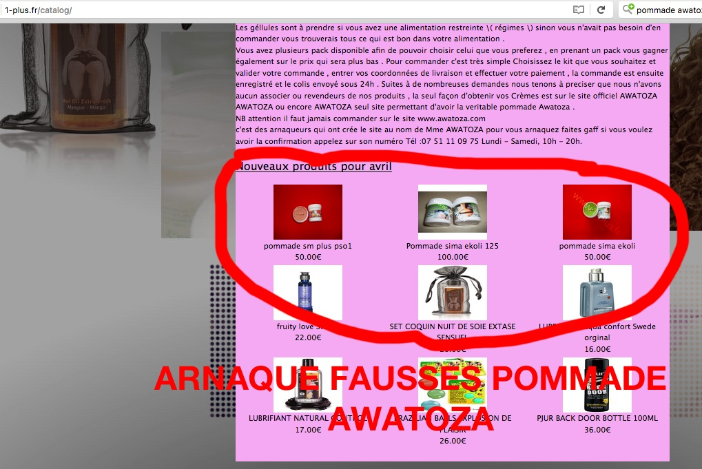 FAUSSE POMMADE AWATOZA ATTENTION